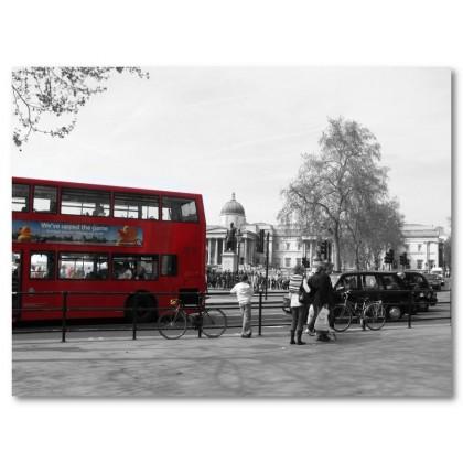 Αφίσα (λεωφορείο, Λονδίνο, Αγγλία, μαύρο, λευκό, άσπρο)